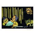 熊谷溢夫の切り絵 複製 『化け猫と鉄砲玉』