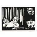 熊谷溢夫の切り絵 原画 『化け猫と鉄砲玉』