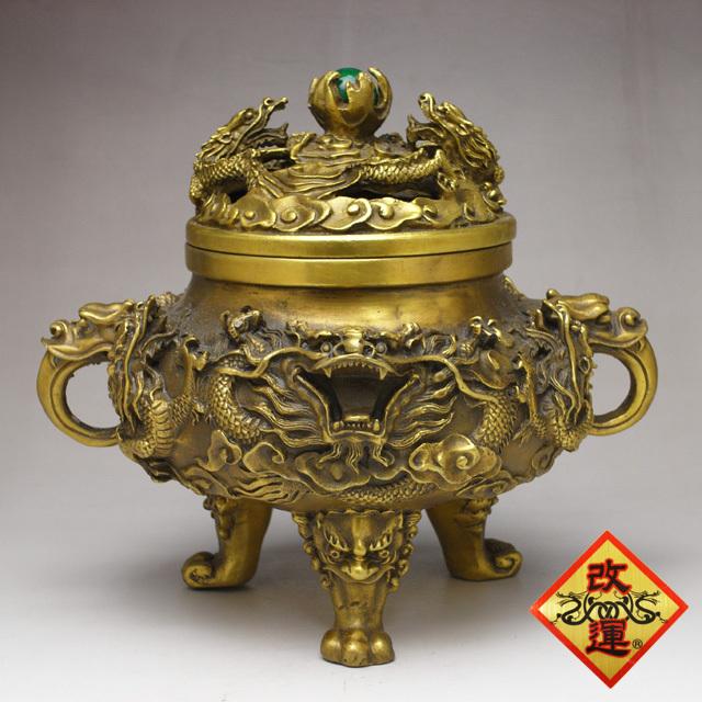 ◆改運◆風水・九龍香炉(銅製)大【送料無料】(f50119)