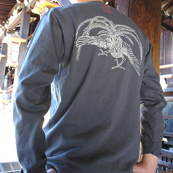 長袖和柄Tシャツ「鳳凰図」(グレー)