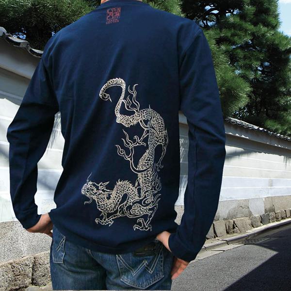 長袖和柄Tシャツ「青龍図」(紺)