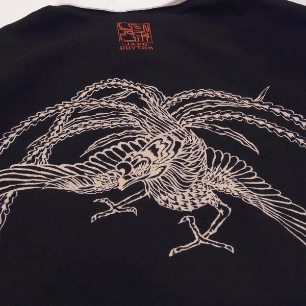 【数量限定】和柄抜染ラガーシャツ「鳳凰図」(黒)