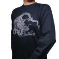 長袖和柄Tシャツ「蟠龍図」(黒)