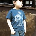 子供・半袖和柄Tシャツ「唐獅子図」(スレート)