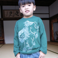 子供・長袖和柄Tシャツ「唐獅子図」(グリーン)