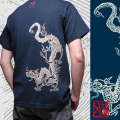半袖和柄Tシャツ「青龍図」(紺)