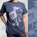 半袖和柄Tシャツ「唐獅子図」(スレート)