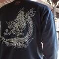 長袖和柄Tシャツ「雲龍図」(黒)