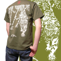 半袖和柄Tシャツ「竹虎図」(緑)