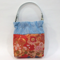 【限定生産 1点モノ】日本製 パクパクポーチ/金襴ファブリック「赤水花紋2」(iPhoneや携帯、デジカメポーチに!)