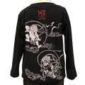 子供・長袖和柄Tシャツ「風神雷神図」(黒×白)