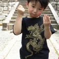 子供・半袖和柄Tシャツ「黄龍図」(黒)