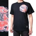 半袖和柄Tシャツ「丸紋唐獅子図」(黒)