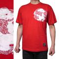 半袖和柄Tシャツ「丸紋唐獅子図」(赤)