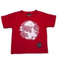 子供・半袖和柄Tシャツ「丸紋唐獅子図」(赤)
