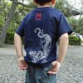 子供・半袖和柄Tシャツ「青龍図」(紺)