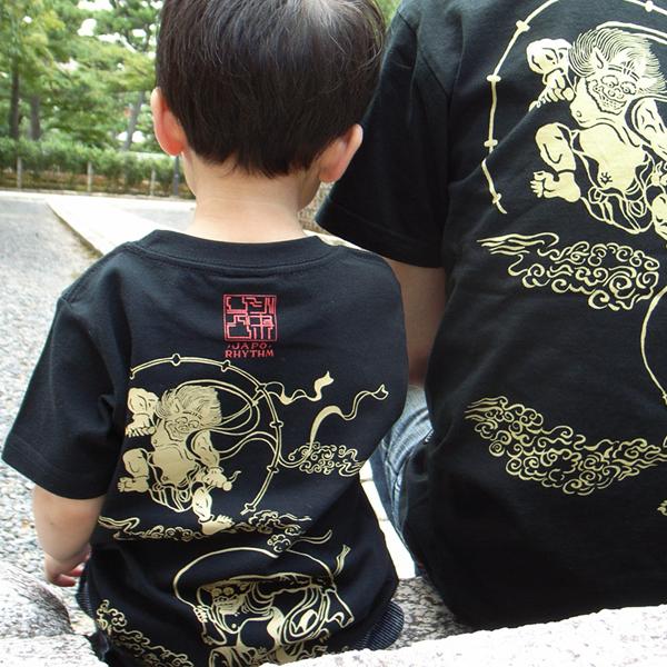 子供・和柄半袖Tシャツ「風神雷神図」(黒×黄)