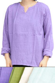 トップス■コットンクルタ長袖シャツ(パープル/グリーン/オフホワイト/ライトブルー)