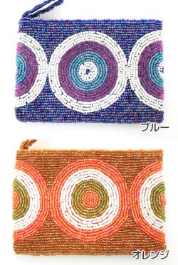ビーズ刺しゅう財布丸型タイプA(ブルー/オレンジ)