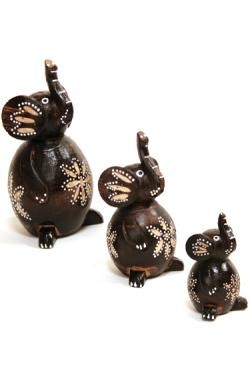 バリ島の木彫ゾウ3兄弟置物