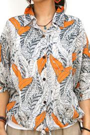 シャツ■レーヨンのドルマンスリーブ半そでシャツ(オレンジ)