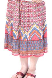 スカート■インド製ひざ丈プリントスカート
