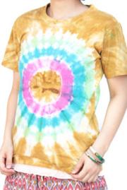 トップス■インド製コットンのタイダイTシャツ(ライトブラウン)