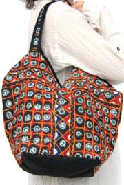バッグ■両面ミラーワーク刺繍BAG(BLACK03)