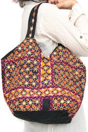 バッグ■両面ミラーワーク刺繍BAG(BLACK04)