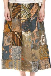 スカート■バテックパッチワークスカート(ポケット付)ブラウン