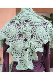 かぎ編みショールグリーン