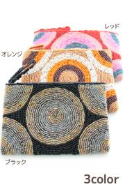 ビーズ刺しゅう財布丸柄タイプC(ブラック/オレンジ/レッド)