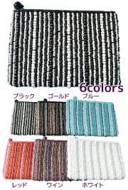 ビーズ刺しゅうウォレット 財布(ブラック/ゴールド/ブルー/レッド/ワイン/ホワイト)