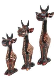 バリ島の木彫りキリン3兄弟