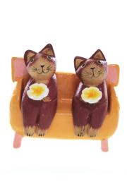 木彫りおすわりペア猫