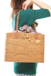 ひし形模様 三つ編み手提げ肩掛け兼用アタバッグ