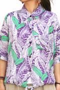 シャツ■レーヨンのドルマンスリーブ半そでシャツ(パープル)