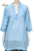 シャツ■ウッドボタンのコットンシャツ(BLUE)