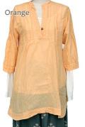 シャツ■ウッドボタンのコットンシャツ(ORANGE)