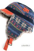 帽子■男女兼用 ノルディック柄 耳あてファー付帽子(ブルー)