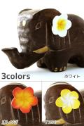 花飾り付き木彫り象の置物