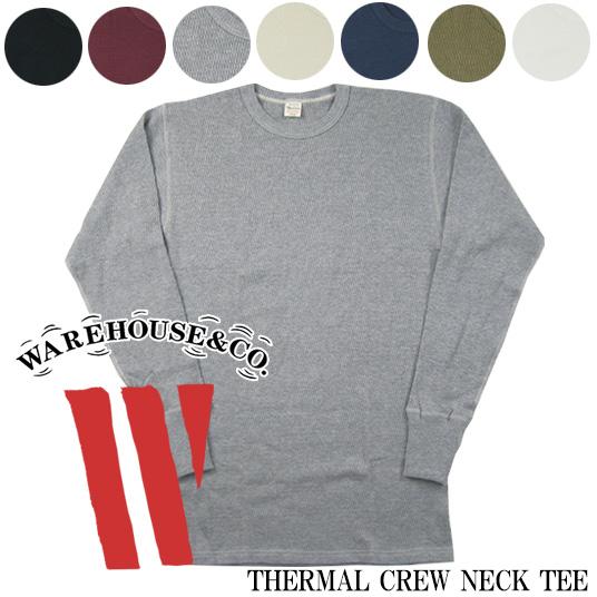 WAREHOUSE ウエアハウス Lot.5903 4本針クルーネックサーマル長袖Tシャツ  THERMAL CREW NECK TEE 【サーマル・ワッフル】 -JOE-