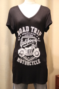 """RAOD TRIP"" MORTORCYCLE バイク プリント Tシャツ"