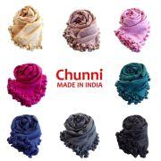 【ポンポン ストール】Chunni 無地8カラー  コットン・シルクのスカーフ<CITRUS・Mattaで人気のタッセル>★メール便対応
