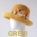 【grevi】ストローハット 花 バラ リボン コサージュ フラワー グレヴィの麦わら帽子 イタリア直輸入ハット UV帽子 紫外線防止 フィレンツェ★送料無料