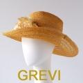 【grevi  中折れ】ストローハット 花付 コサージュ  グレヴィの麦わら帽子 フラワー イタリア直輸入 つば広 中折れ ハット UV帽子 紫外線防止 フィレンツェ★送料無料
