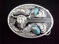 バックル ネイティブ  SKU2DE Turquoise Stones with Buffalo Skull (Diamond Cut)