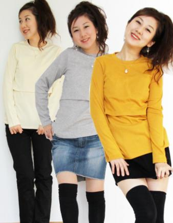 【授乳服】コットンカラークルーT(まとめ買い!)♪1枚までメール便可♪