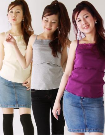 【授乳服】レーシー★カラーキャミ(低価格なのに高品質で大人気!)♪2枚までメール便可♪