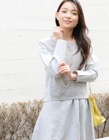 <授乳服・マタニティ・ワンピース>ポンチツイード・セットアップワンピース~ロイヤルコレクション~